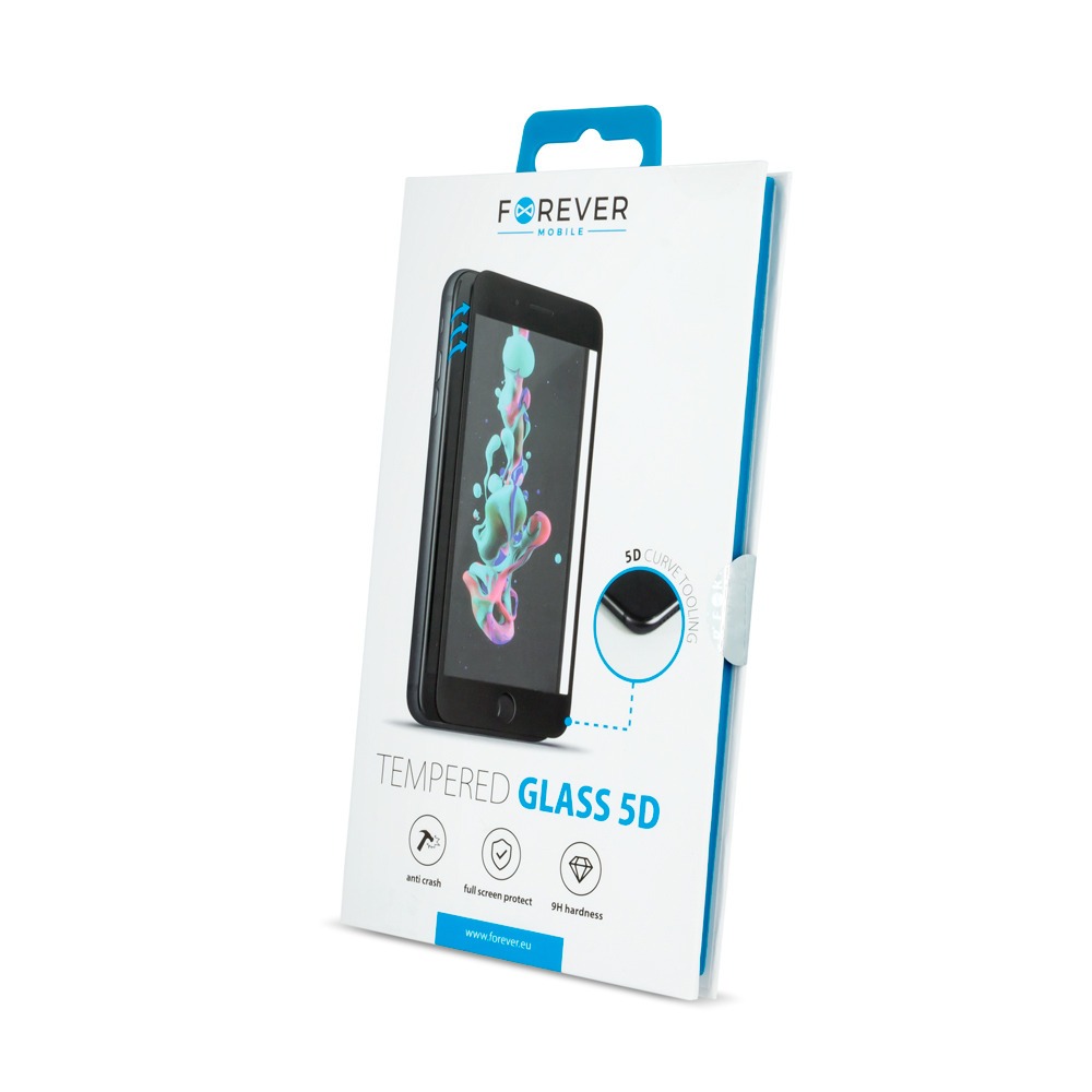 Huawei P30 Forever 5D edzett üveg képernyővédő, fekete