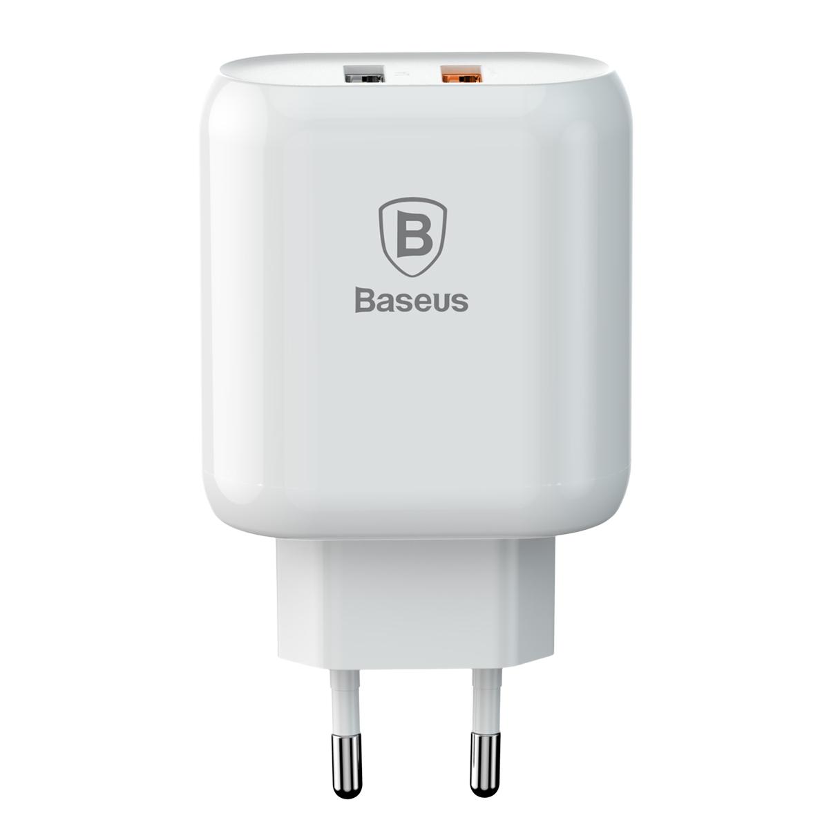 Baseus fali töltő Bojure QC 3.0 2 USB fehér