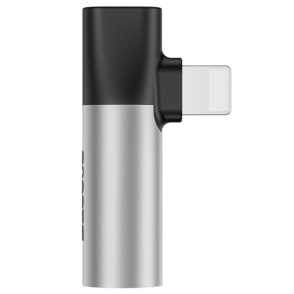 Baseus lightning 8-pin / 3,5mm-es jack adapter ezüst-fekete