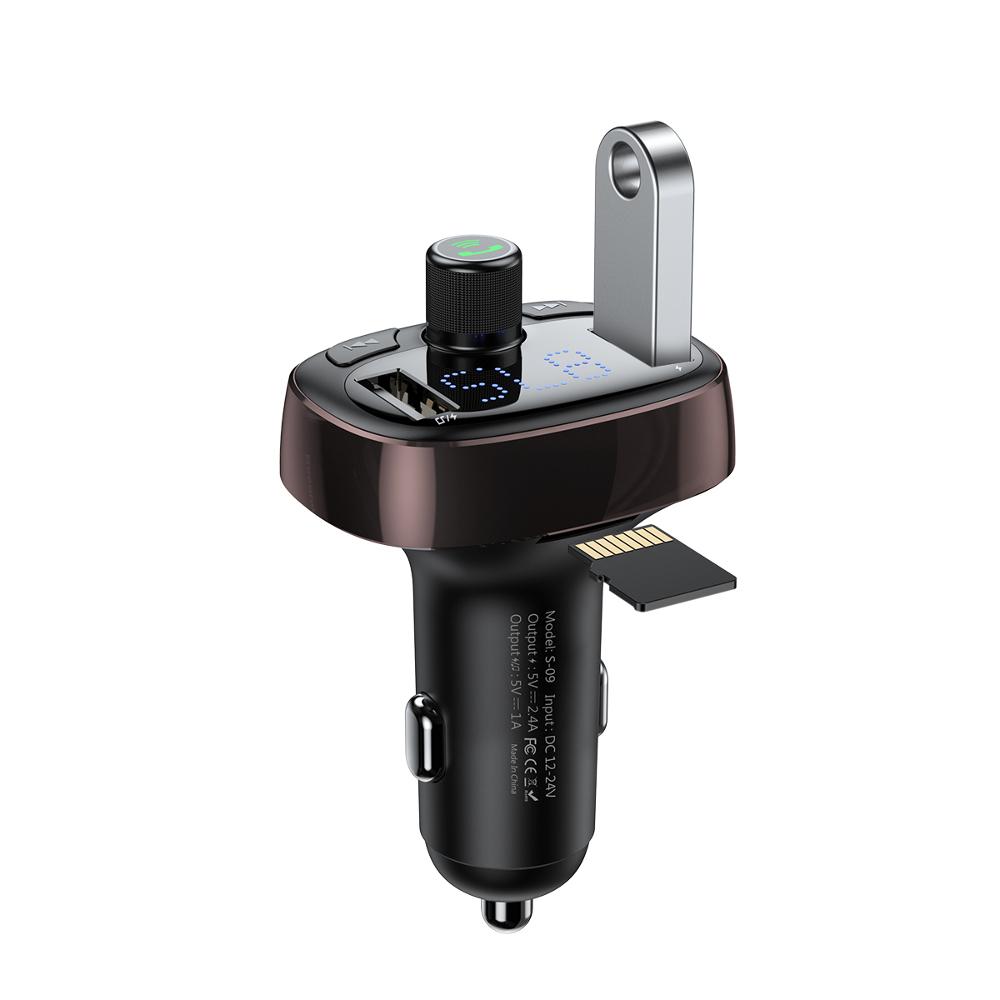 Baseus FM transzmitter T-Type Bluetooth MP3 autós töltő barna (CCALL-TM12)