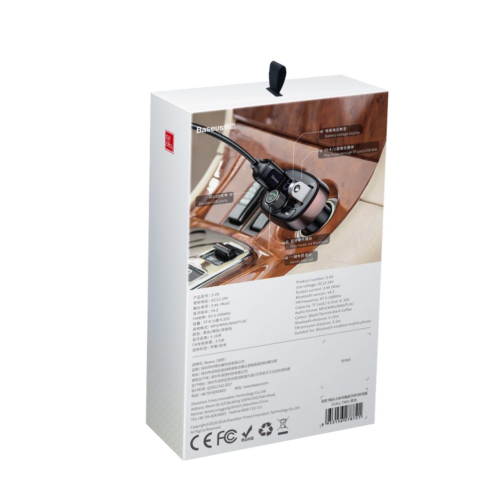Baseus transmiter FM T-Type bluetooth MP3 Auto punjač crna