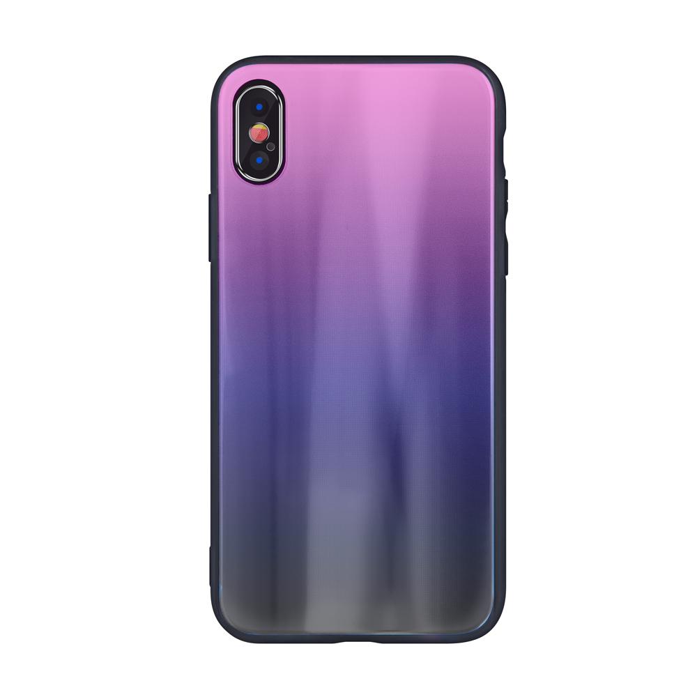 Aurora üveg tok Motorola Moto G7 Play rózsaszín-fekete