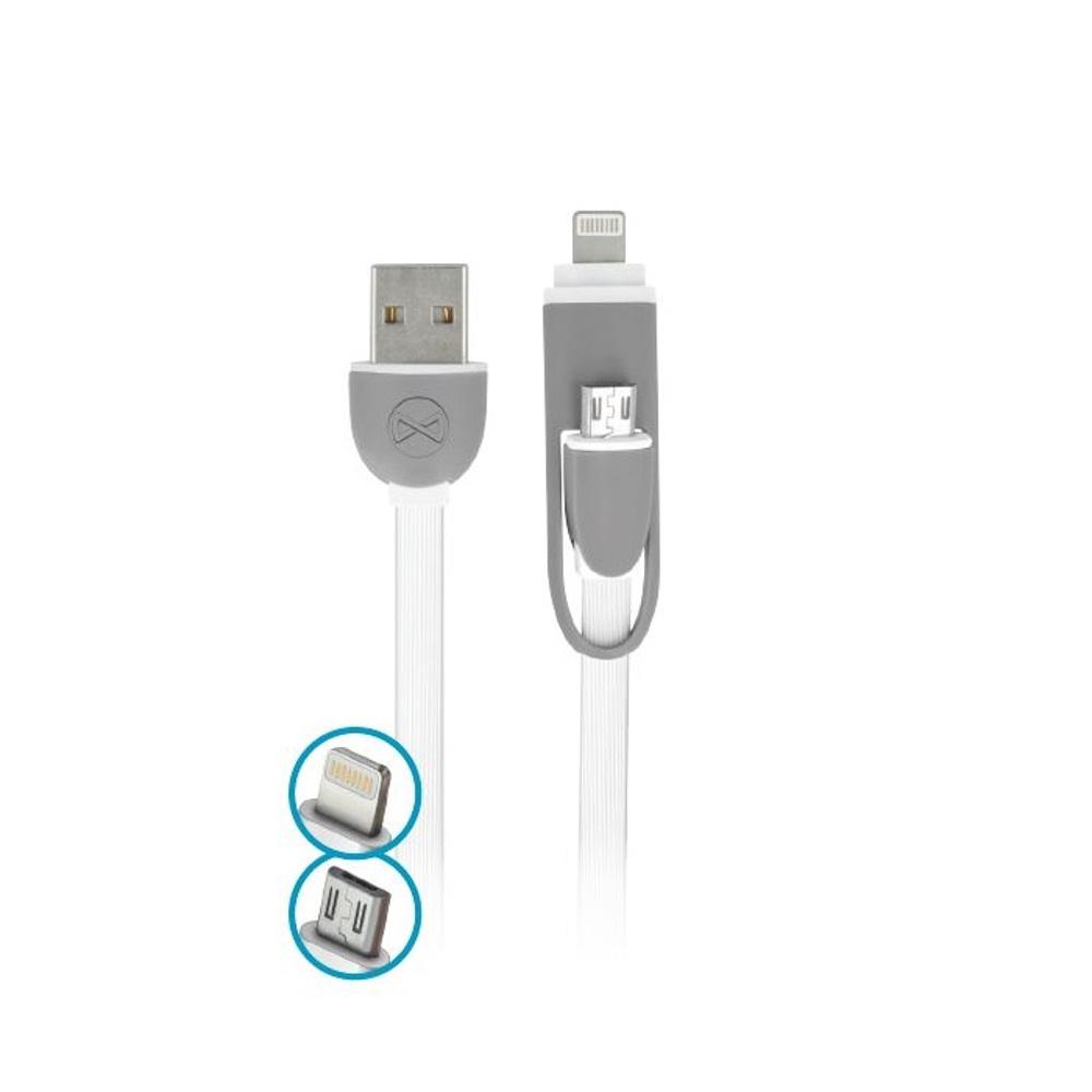 Forever kábel 2 az 1-be micro-usb + lightning szilikon fehér 1,80A 1 m