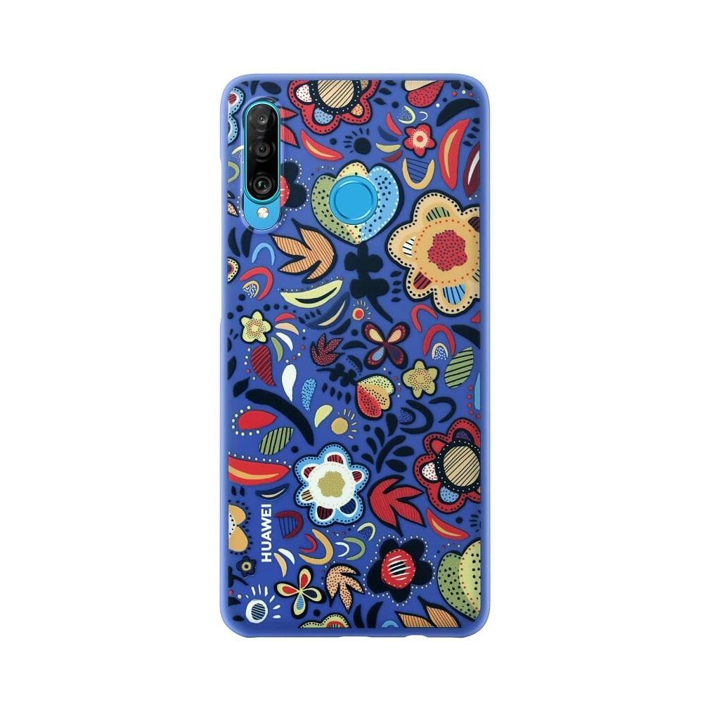 Huawei P30 Lite dekoratív tok kék, virágokkal
