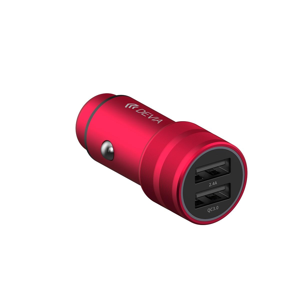 DEVIA autós töltő SM7 QC 3.0 2USB 30W, piros