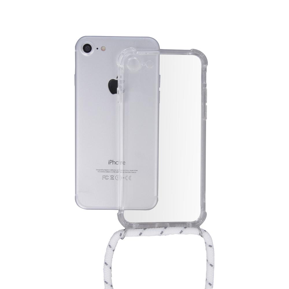Samsung A30 / A20 átlátszó TPU tok fehér nyakszíjjal