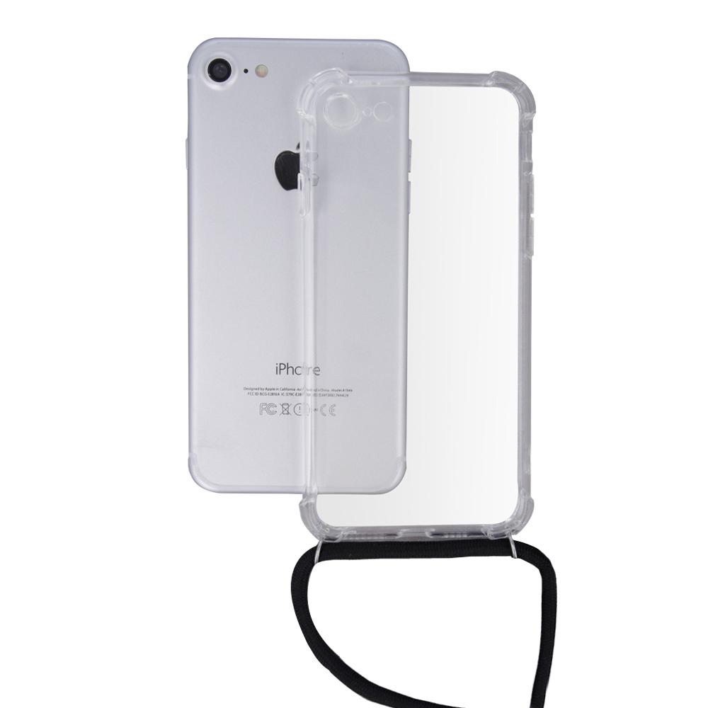 Samsung A30 / A20 átlátszó TPU tok fekete nyakszíjjal