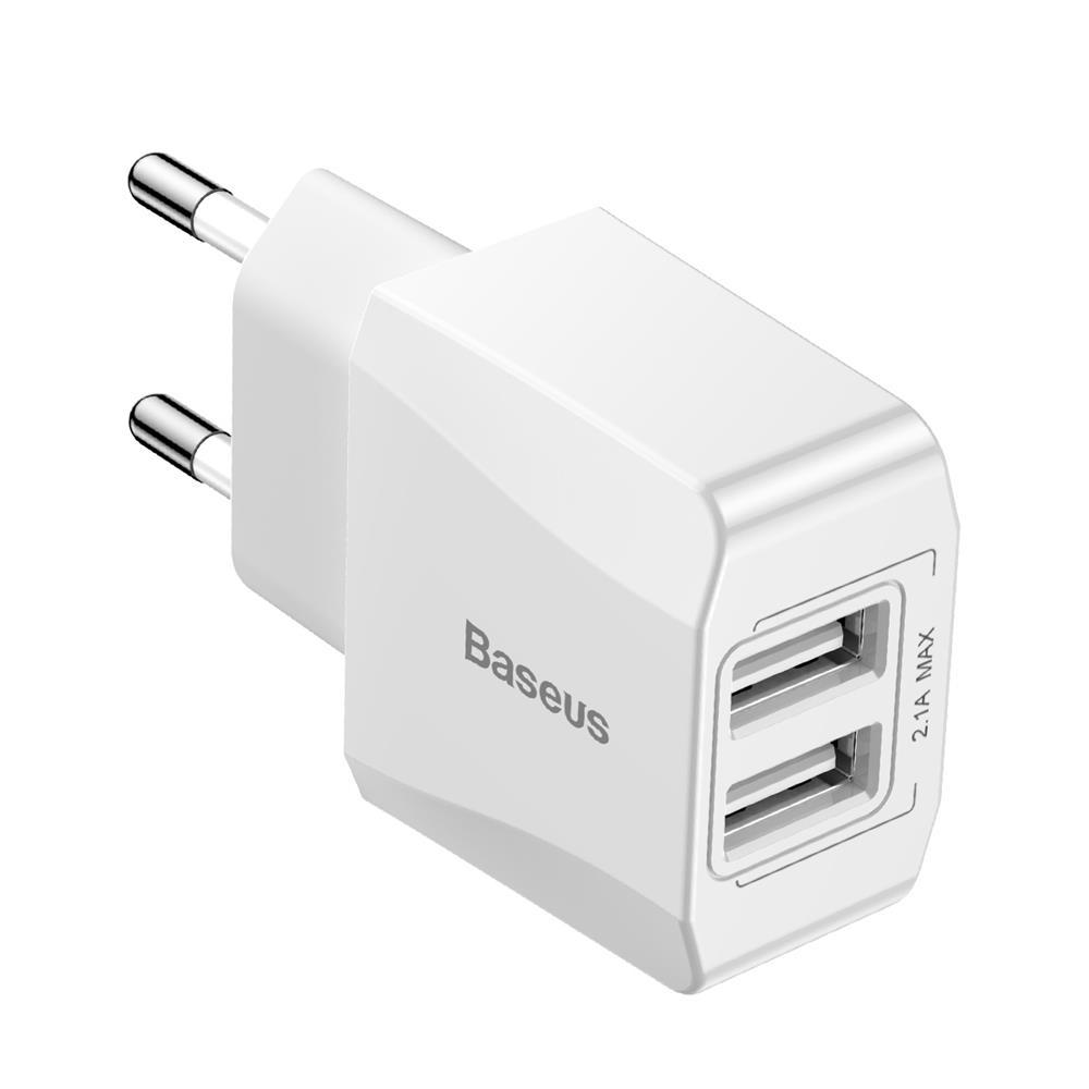 Baseus fali töltő Mini Dual-U 2 x USB fehér  2.1A