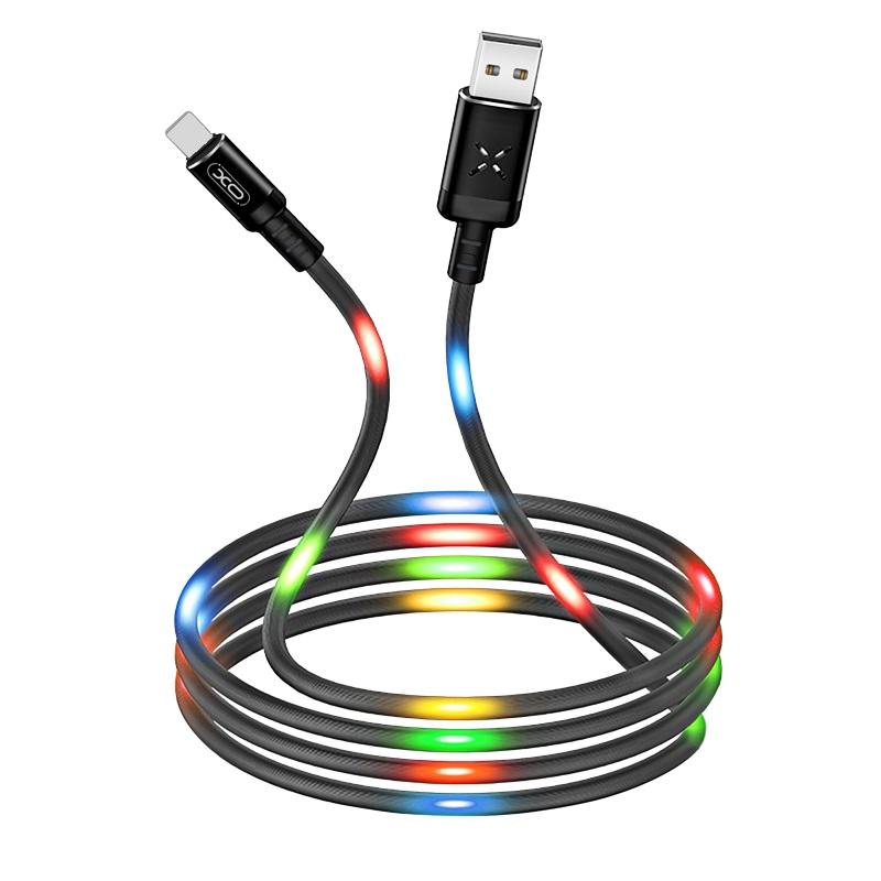 XO USB-C kábel NB108 fekete, színes ledekkel 1m