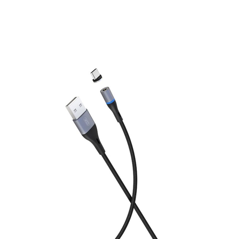 XO mágneses USB-C kábel NB125 fekete 2A 1m