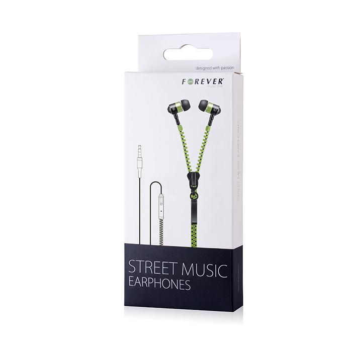 Forever cipzár headset zöld