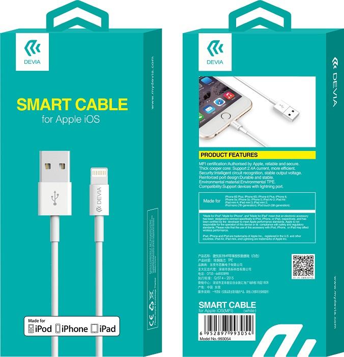 DEVIA SMART MFI kábel iPhone-hoz, fehér