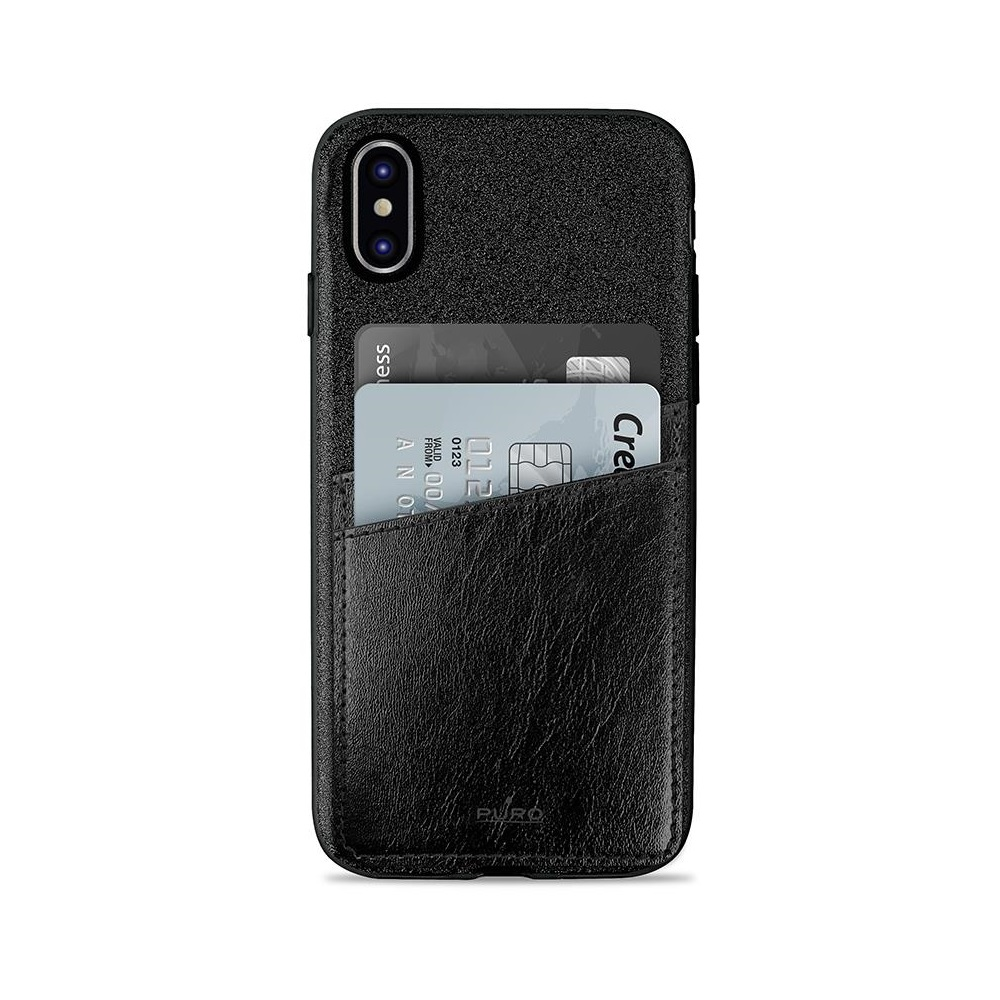 Puro kártya zsebes tok iPhone X telefonhoz fekete