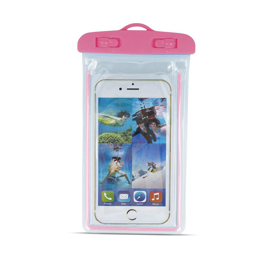 Vízálló tok mobiltelefonokhoz 4,8 - 5,8` 175x105mm rózsaszín, fényvisszaverő
