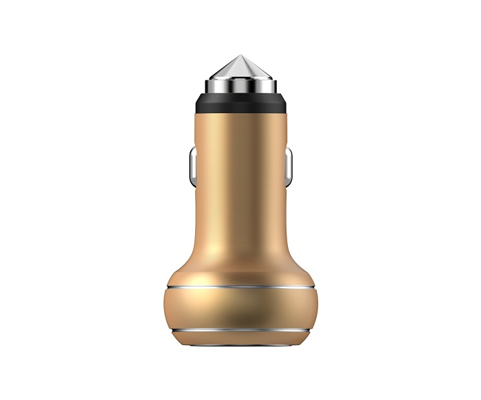 car charger devia thor dual usb chagne gold emergency hammer