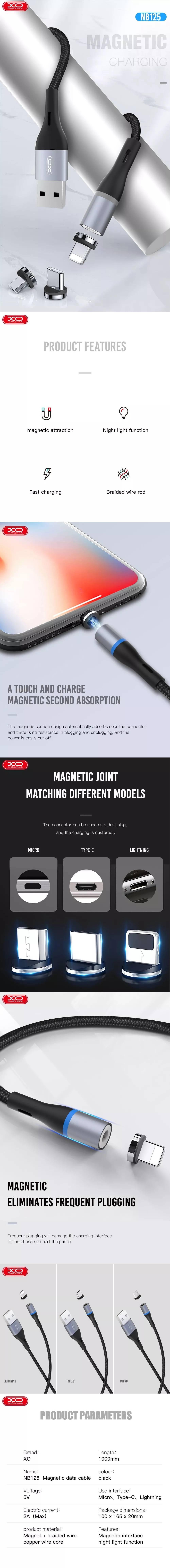 XO cable magnetic NB125 USB - Lightning 1,0 m 2A black