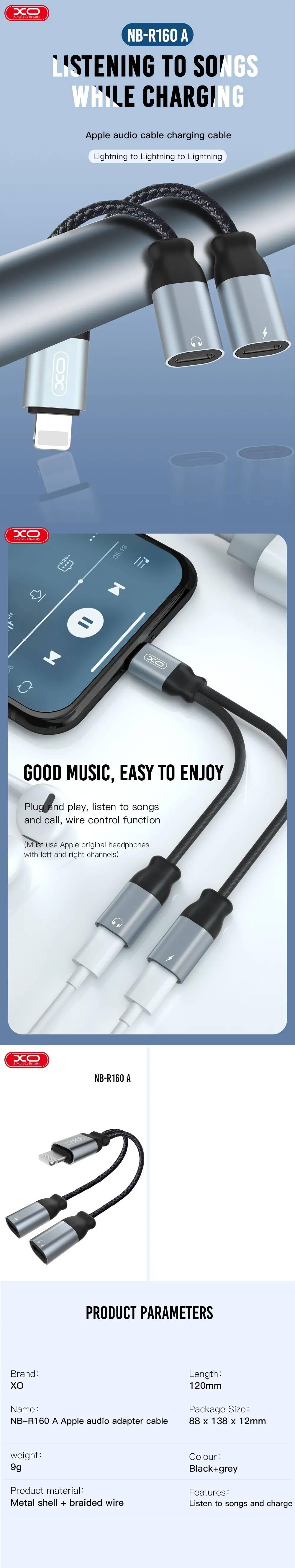 XO adapter audio NBR160A Lightning to Lightning - Lightning black