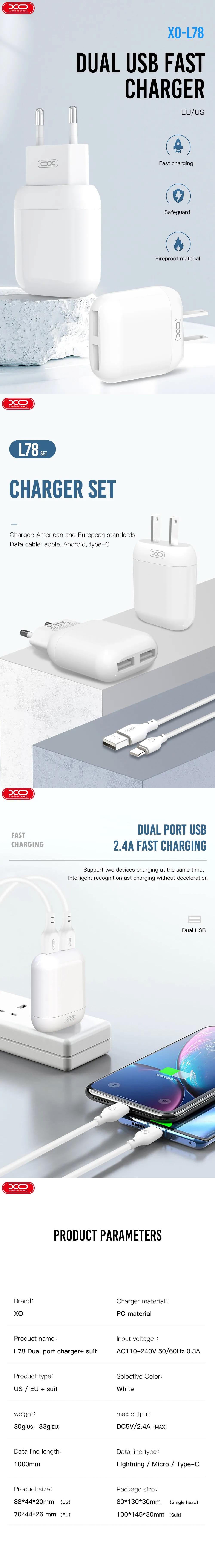 XO L78 fali töltő 2x USB 2,4A fehér